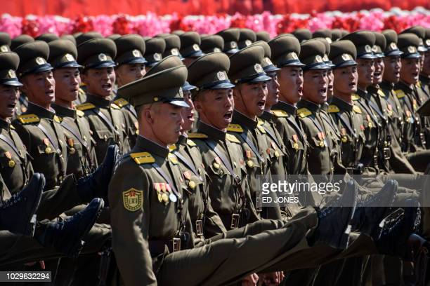 Korean People's Army soldiers march during a mass rally on Kim Il Sung square in Pyongyang on September 9 2018 North Korea was marking the 70th...
