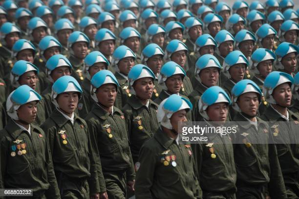 Korean People's Army soldiers march on Kim IlSung sqaure during a military parade marking the 105th anniversary of the birth of late North Korean...