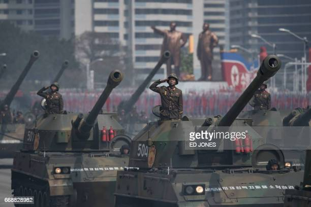 Korean People's Army tanks are displayed during a military parade marking the 105th anniversary of the birth of late North Korean leader Kim IlSung...