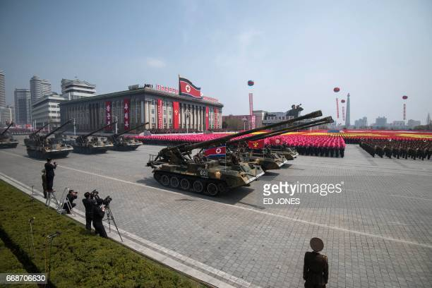 Korean People's Army tanks are displayed on Kim IlSung square during a military parade marking the 105th anniversary of the birth of late North...