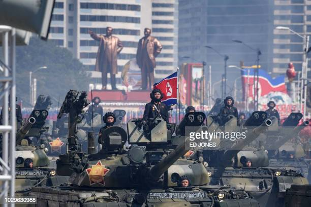 TOPSHOT Korean People's Army tanks take part in a military parade on Kim Il Sung square in Pyongyang on September 9 2018 North Korea held a military...