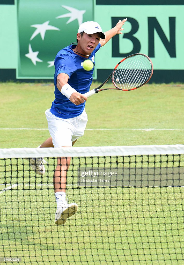 Korean player Seong Chan Hong in action against Indian player Ramkumar Ramanathan during the first match Davis Cup tie between India and Korea at...