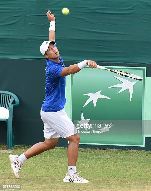 Korean player Yong Kyu Lim in action against Indian player Ramkumar Ramanathan during a Davis Cup reverse match between India and Korea at Chandigarh...