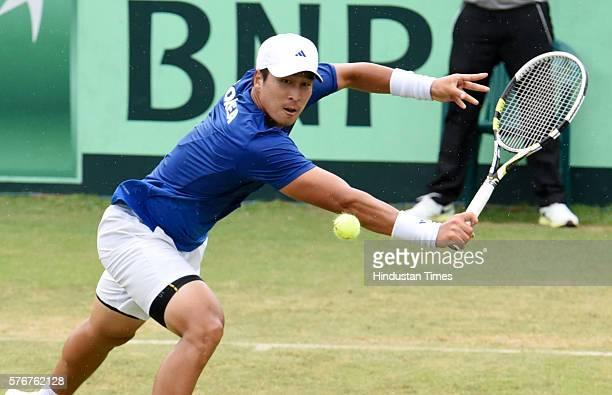 Korean player Yong Kyu Lim in action against Indian tennis player Ramkumar Ramanathan during a Davis Cup reverse match between India and Korea at...