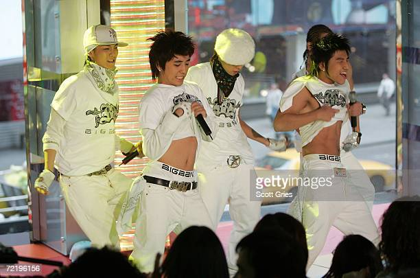 Korean pop group Big Bang performs onstage during a taping of MTV K Presents SE7EN and the YG Family at the MTV Times Square Studios on October 17...