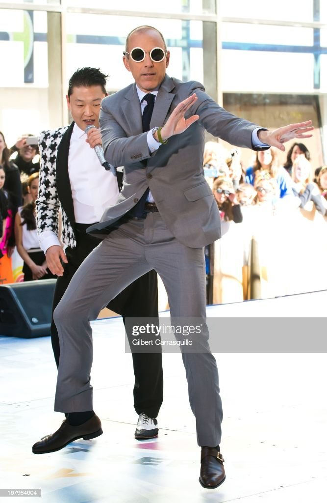 Korean Pop singer Psy and Matt Lauer Perform On NBC's 'Today Show' at Rockefeller Plaza on May 3, 2013 in New York City.