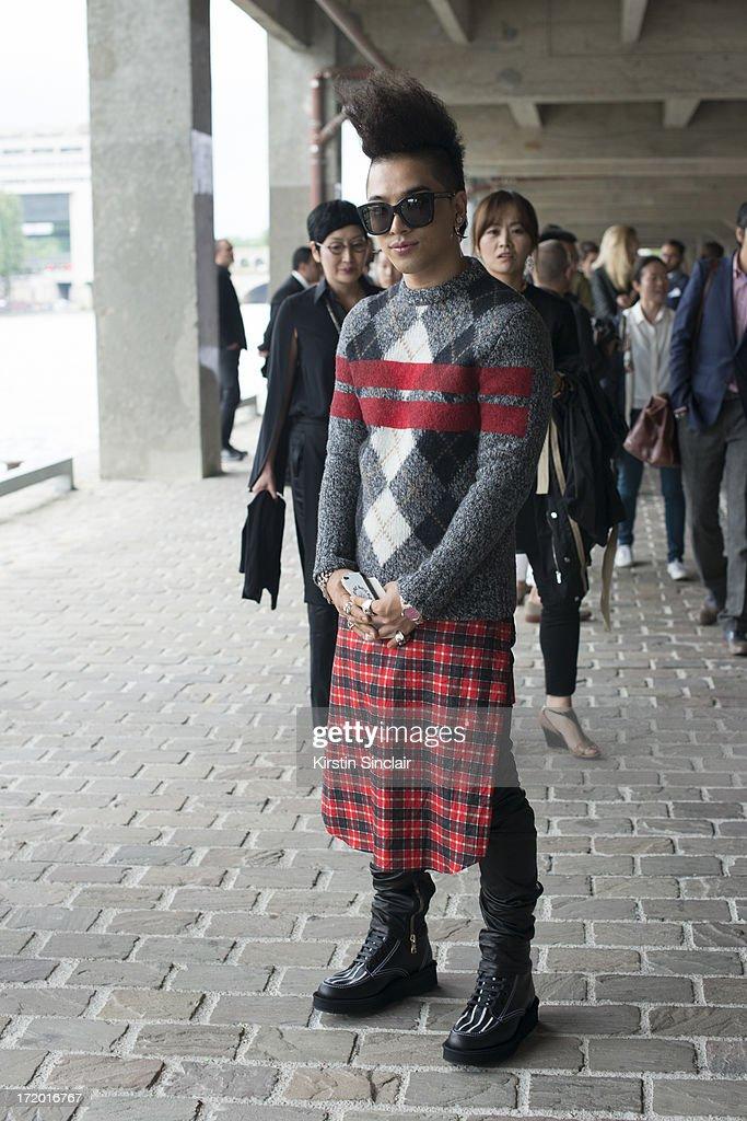 Korean Popstar Taeyang on day 3 of Paris Collections: Men on June 28, 2013 in Paris, France.