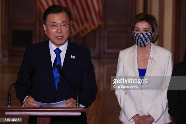 Korean President Moon Jae-in and Speaker of the House Nancy Pelosi deliver brief remarks during a press availability in her offices at the U.S....
