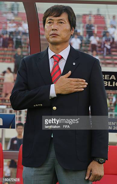 Korean Republic coach Jong Songchon looks on during the FIFA U-20 Women's World Cup Japan 2012, Group B match between Nigeria v Korean Republic at...