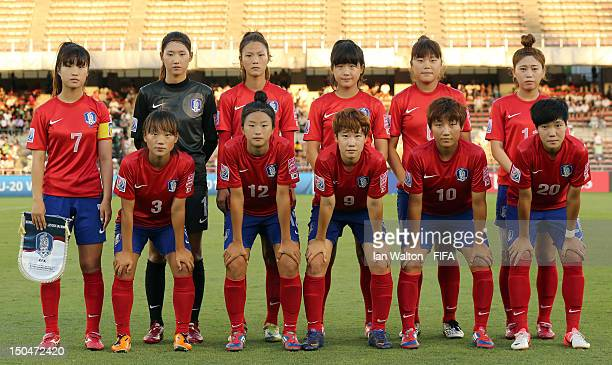 Korean Republic team line up during the FIFA U-20 Women's World Cup Japan 2012, Group B match between Nigeria v Korean Republic at Komaba Stadium on...