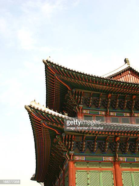 korean roof - gyeongbokgung stock photos and pictures