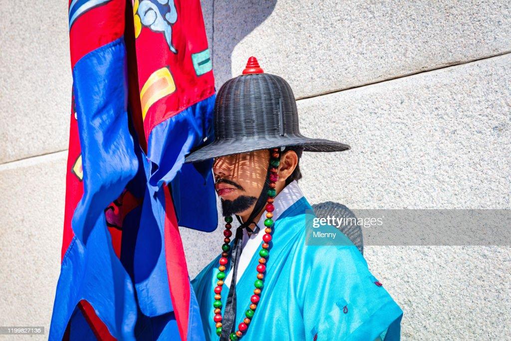 Korean Royal Guard at Gwanghwamun Gate Seoul, South Korea : Stock Photo