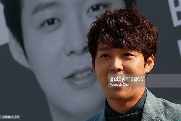 Korean singer and actor Park YuChun attends the press conference 'Birth of Actor' on the second day of the 19th Busan International Film Festival at...
