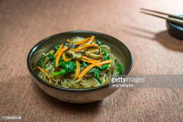 Korean stir-fried glass noodles (japchae)