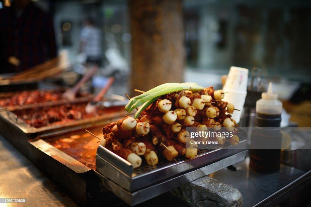 Korean street food skewers at night : Stock Photo