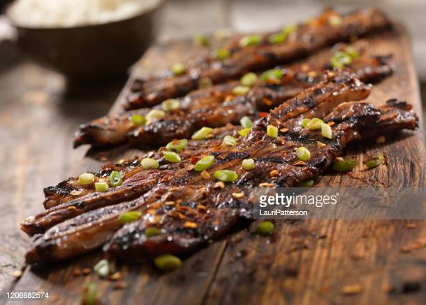 korean style bbq beef short ribs with rice - soy sauce stock pictures, royalty-free photos & images