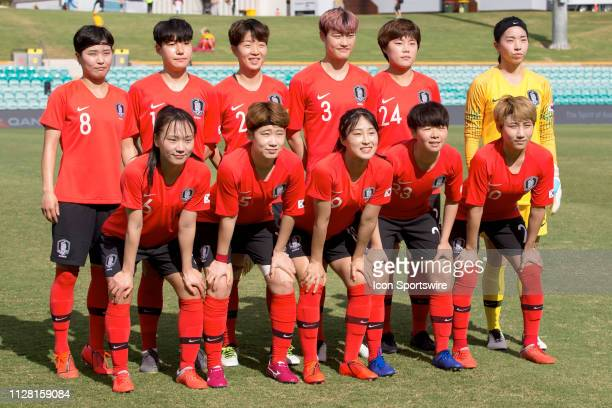 Korean team photo at The Cup of Nations womens soccer match between Argentina and Korea Republic on February 28 2019 at Leichhardt Oval NSW