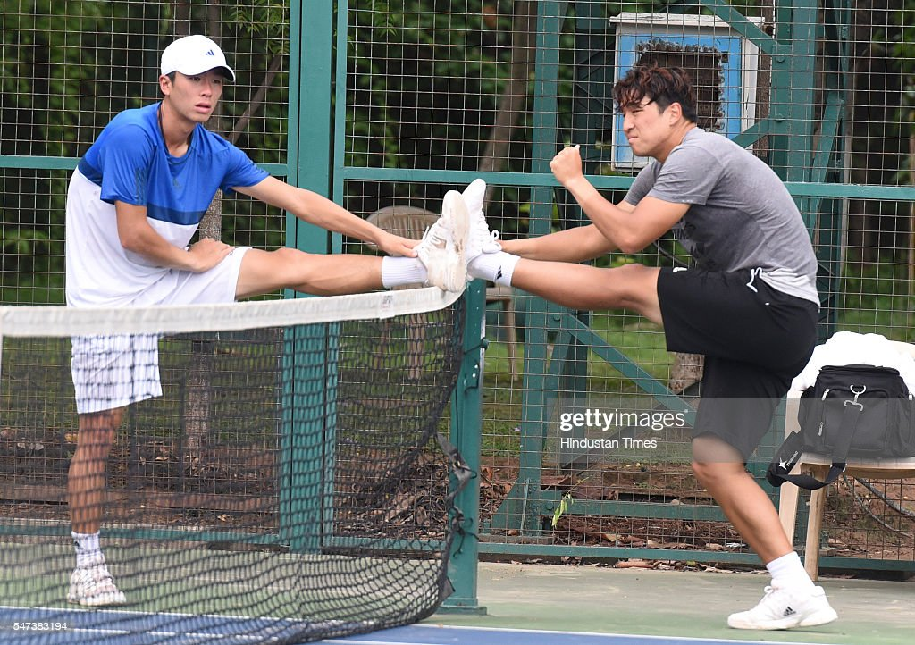 Korean Tennis players Seong Chung Yun and YongKyu Lim during Davis Cup practice session at Chandigarh Club on July 14 2016 in Chandigarh India