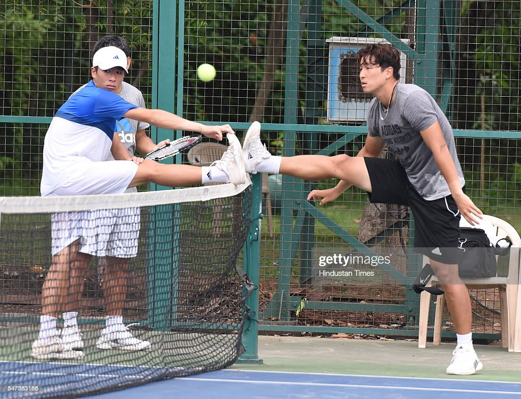 Korean Tennis players Seong Chung Yun Gaptain Ro and YongKyu Lim during Davis Cup practice session at Chandigarh Club on July 14 2016 in Chandigarh...