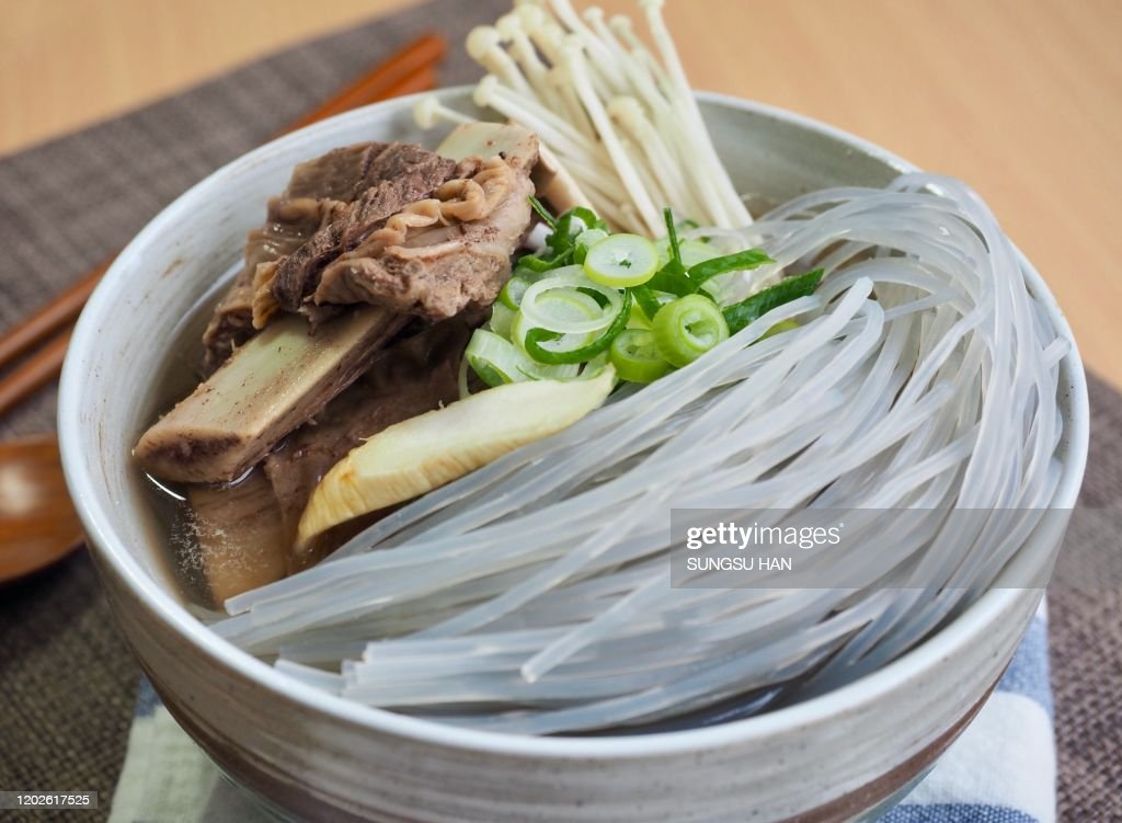 Korean traditional food beef Galbi-tang, Beef Short Ribs Soup : Stock Photo