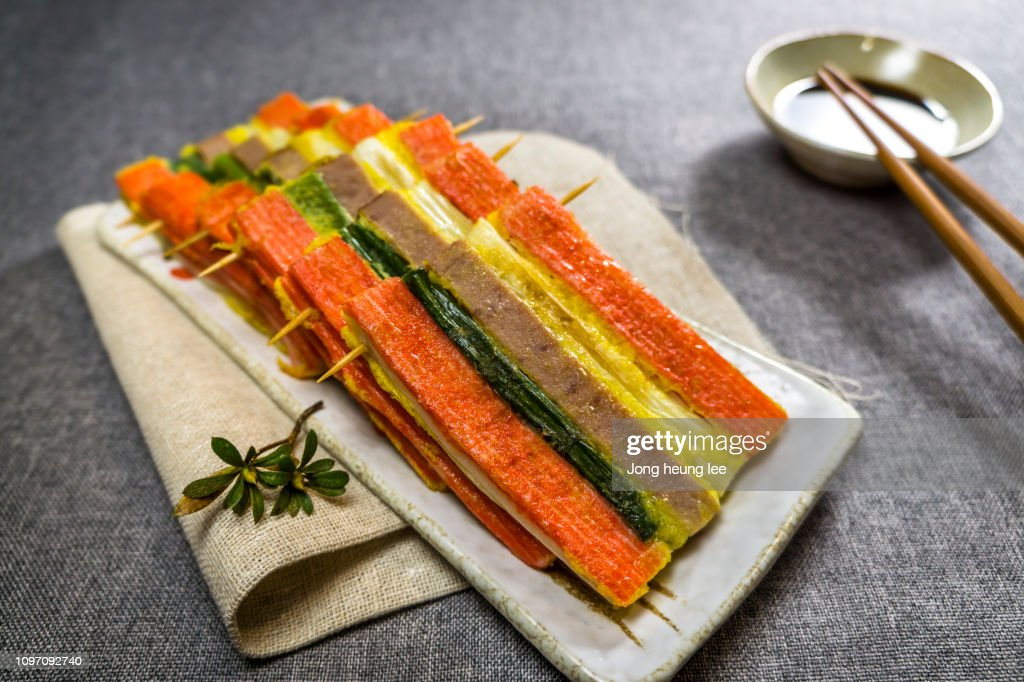 Korean traditional holiday food(San-jeok) : Stock Photo