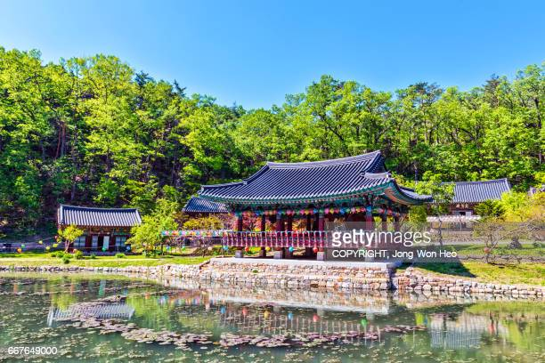 Korean traditional pavilion by the pond in the Buddhist temple