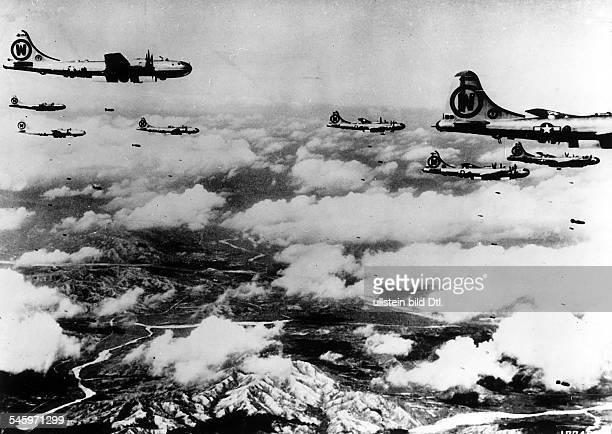 Korean war USAF bomber sqadron B29 on mission against enemy positions october 1950