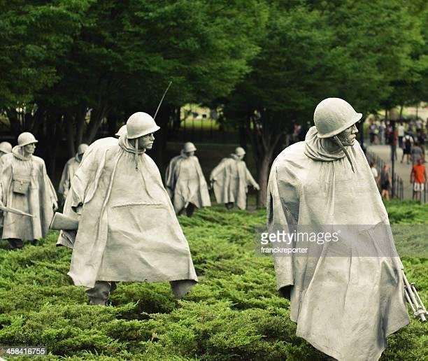 korean war memorial soldiers in a washington dc park - korean war memorial stock photos and pictures
