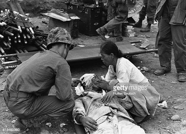 Korean War Series With the United Nations forces going over to the offensive in Korea 'Picture Post' sends cameraman Bert Hardy to record the latest...