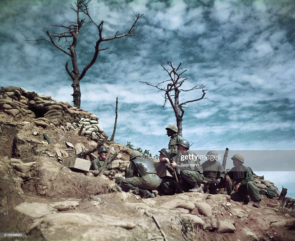 Soldiers Atop Old Baldy In Korea News Photo