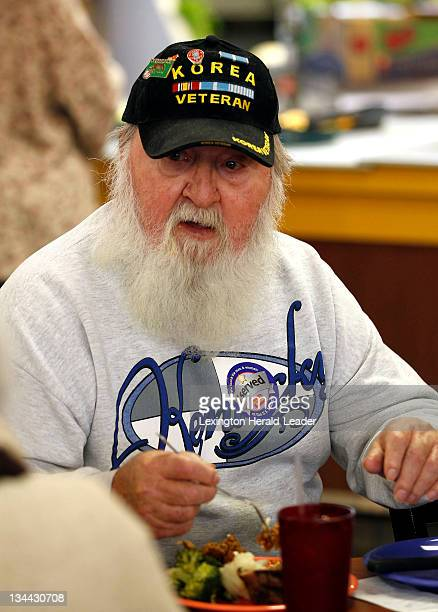 Korean war veteran Jeff Caudill attends the free military appreciation dinner for veterans held at the Golden Corral in London Kentucky Monday...