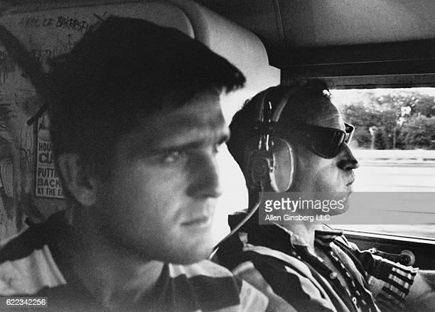 Korean War veteran Ken Babbs captain of Ken Kesey's 'Trips Festival' bus copiloting Neal Cassady on amphetamine at the wheel to Millbrook estate near...