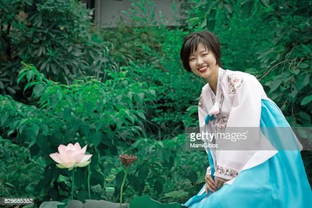 Korean woman wearing Korean dress of Chimachogori