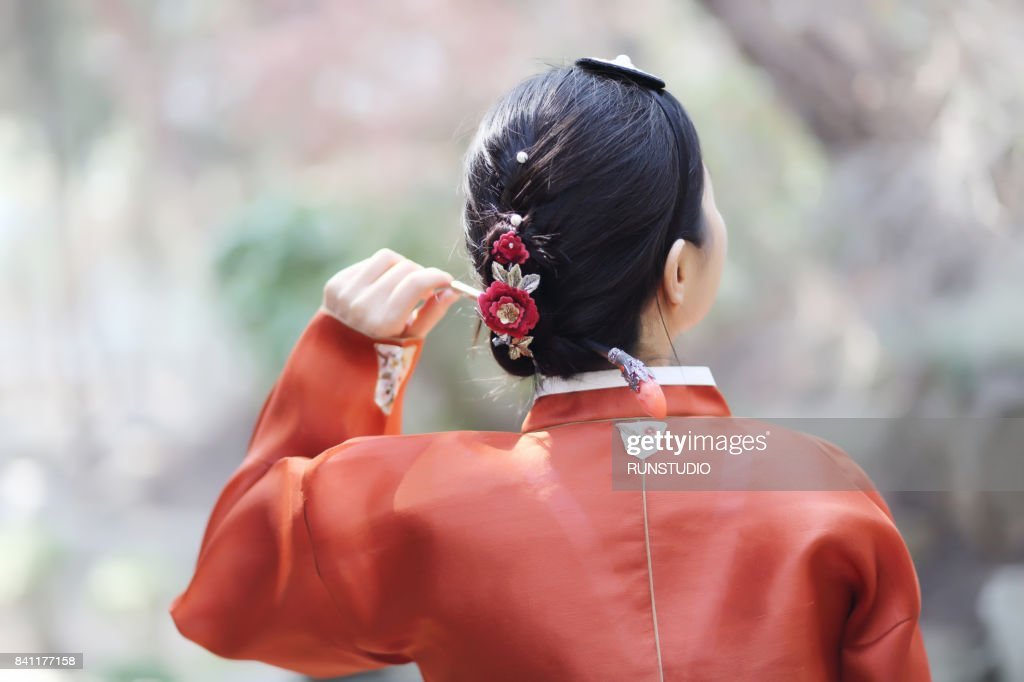 Korean Womens Traditional Hair Style And Binyeo Stock Photo Getty