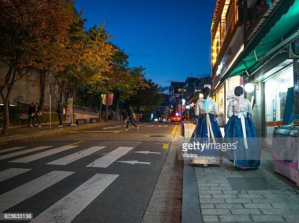korean young ladies on the street, seoul - vsojoy stock pictures, royalty-free photos & images