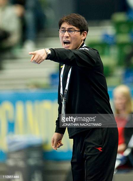 Korea's coach Youngshin Cho reacts during the 2011 Men's Handball World Championships group D match Chile vs Korea on January 15 2011 in Goteborg AFP...