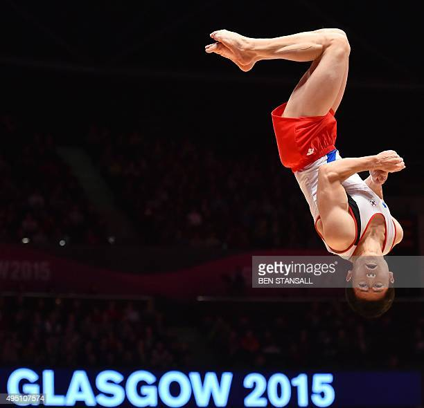 Korea's Hansol Kim competes during the Men's floor final at the 2015 World Gymnastics Championships at the Hydro Arena in Glasgow on October 25 2015...