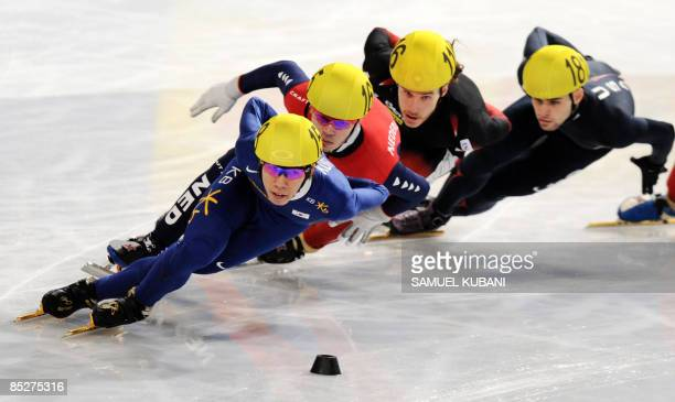 Korea's HoSuk Lee leads the pack during the men's 1500m semifinal at the 2009 ISU World Short Track Speed Skating Championships in Vienna on March 6...