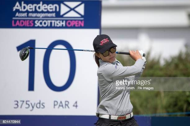 Korea's Sun Young Loo tees off at the 10th hole during day four of the Aberdeen Asset Management Ladies Scottish Open at Dundonald Links North...
