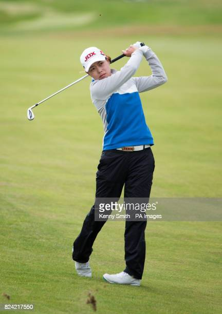 Korea's Sun Young Yoo plays her approach shot to the par 4 1st hole during day three of the Aberdeen Asset Management Ladies Scottish Open at...