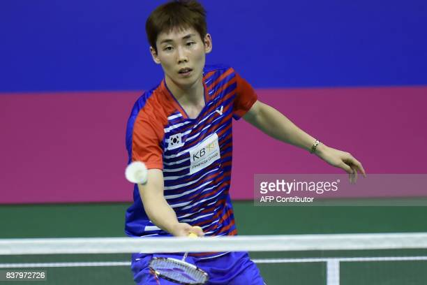 Korea's Wan Ho Son returns to Hungary's Gergely Krausz during their round two mens's singles match during the 2017 BWF World Championships of...