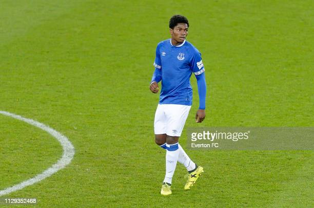 Korede Adedoyin of Everton during the FA Youth Cup match between Everton and Brighton Hove Albion at Goodison Park on February 12 2019 in Liverpool...