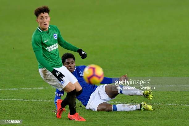 Korede Adedoyin of Everton with a chance on goal during the FA Youth Cup match between Everton and Brighton Hove Albion at Goodison Park on February...