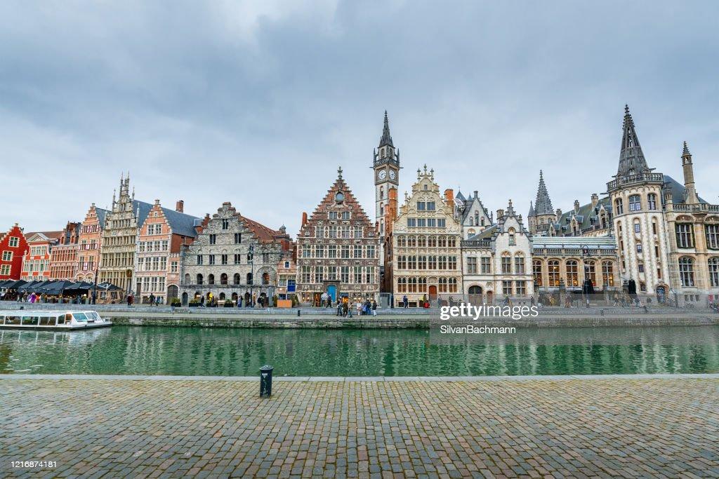Korenlei waterfront, Ghent, Belgium : ストックフォト