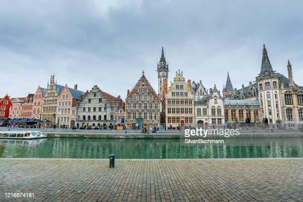 korenlei waterfront, ghent, belgium - ベルギー ゲント ストックフォトと画像