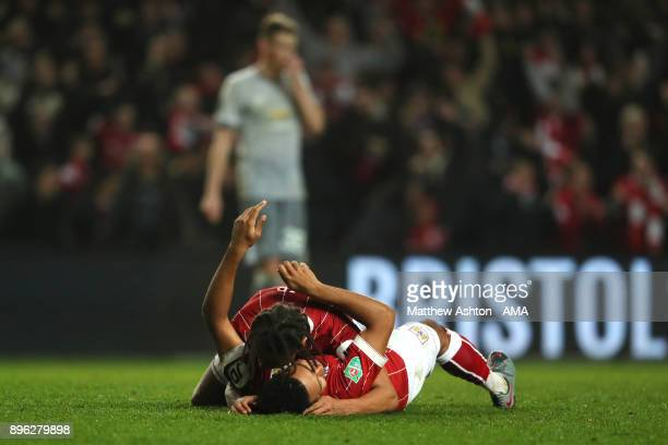 Korey Smith of Bristol City celebrates scoring a goal to make it 21 with Bobby Reid during the Carabao Cup QuarterFinal match between Bristol City...