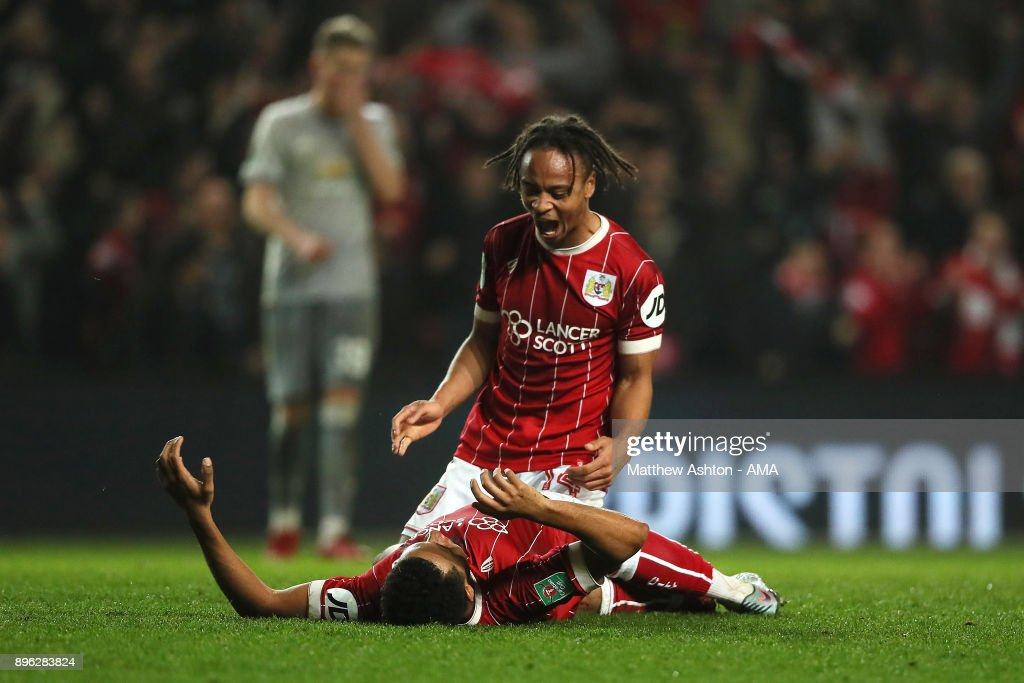 Korey Smith of Bristol City celebrates scoring a goal to make it 2-1 with Bobby Reid during the Carabao Cup Quarter-Final match between Bristol City and Manchester United at Ashton Gate on December 20, 2017 in Bristol, England.