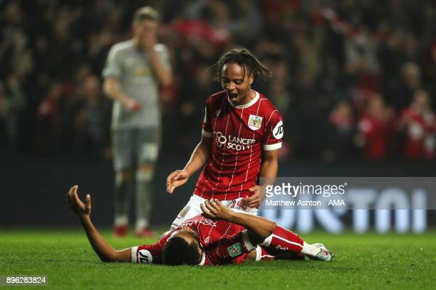 Korey Smith of Bristol City celebrates scoring a goal to make it 2-1 with Bobby Reid during the Carabao Cup Quarter-Final match between Bristol City...