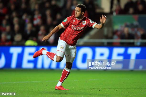 Korey Smith of Bristol City during the Carabao Cup SemiFinal 2nd leg match between Bristol City and Manchester City at Ashton Gate on January 23 2018...