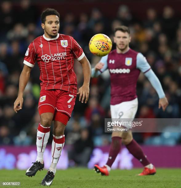 Korey Smith of Bristol City looks on during the Sky Bet Championship match between Aston Villa and Bristol City at Villa Park on January 1 2018 in...
